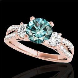 1.5 CTW Si Certified Fancy Blue Diamond 3 Stone Solitaire Ring 10K Rose Gold - REF-172F8N - 35409