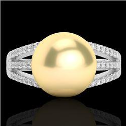 0.30 CTW Micro Pave VS/SI Diamond & Golden Pearl Designer Ring 18K White Gold - REF-50T8M - 22625