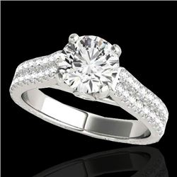 1.61 CTW H-SI/I Certified Diamond Pave Ring 10K White Gold - REF-180W2F - 35457