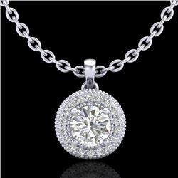 1 CTW VS/SI Diamond Solitaire Art Deco Stud Necklace 18K White Gold - REF-180A2X - 36965
