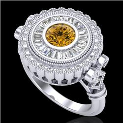 2.03 CTW Intense Fancy Yellow Diamond Engagement Art Deco Ring 18K White Gold - REF-245N5Y - 37903