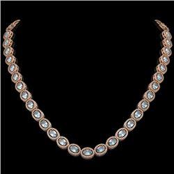 24.65 CTW Aquamarine & Diamond Halo Necklace 10K Rose Gold - REF-572Y8K - 40425