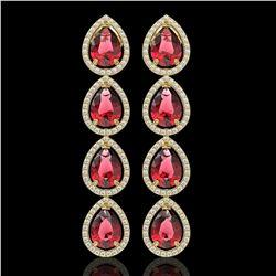 10.48 CTW Tourmaline & Diamond Halo Earrings 10K Yellow Gold - REF-211Y8K - 41302