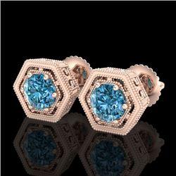 1.07 CTW Fancy Intense Blue Diamond Art Deco Stud Earrings 18K Rose Gold - REF-131K8W - 37510