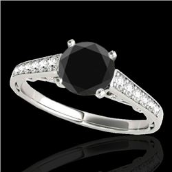 1.35 CTW Certified VS Black Diamond Solitaire Ring 10K White Gold - REF-53N3Y - 34910