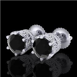 2.04 CTW Fancy Black Diamond Solitaire Art Deco Stud Earrings 18K White Gold - REF-89H3A - 38094