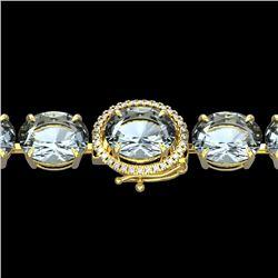 79 CTW Sky Blue Topaz & Micro VS/SI Diamond Halo Bracelet 14K Yellow Gold - REF-229X3T - 22284