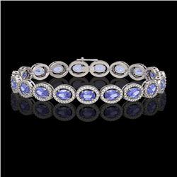 14.25 CTW Tanzanite & Diamond Halo Bracelet 10K White Gold - REF-273A5X - 40460