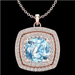 2.08 CTW Sky Blue Topaz & Micro Pave VS/SI Diamond Halo Necklace 14K Rose Gold - REF-56T4M - 20448