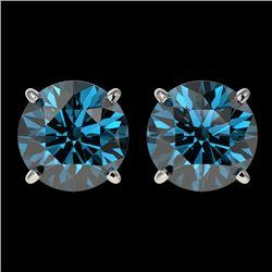 3 CTW Certified Intense Blue SI Diamond Solitaire Stud Earrings 10K White Gold - REF-379K3W - 33126