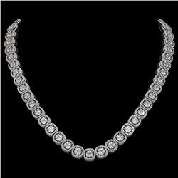 32.64 CTW Cushion Diamond Designer Necklace 18K White Gold - REF-5967T6M - 42623