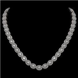 30.41 CTW Oval Diamond Designer Necklace 18K White Gold - REF-5531A8X - 42614