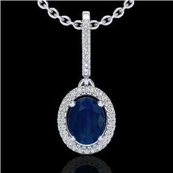 2 CTW Sapphire & Micro Pave VS/SI Diamond Necklace Halo 18K White Gold - REF-69M3H - 20669