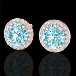 4 CTW Sky Blue Topaz & Halo VS/SI Diamond Micro Earrings Solitaire 14K Rose Gold - REF-53W3F - 21482