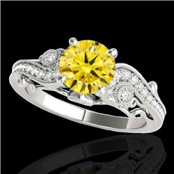 1.5 CTW Certified Si Intense Yellow Diamond Solitaire Antique Ring 10K White Gold - REF-262F8N - 348
