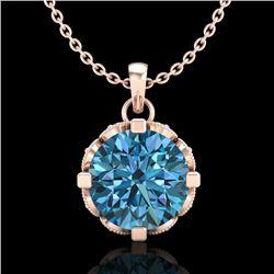 1.5 CTW Fancy Intense Blue Diamond Solitaire Art Deco Necklace 18K Rose Gold - REF-172A8X - 37384