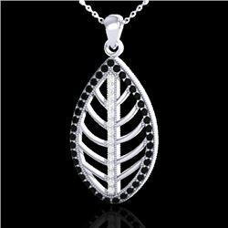 1 CTW Micro Pave Black & White VS/SI Diamond Designer Necklace 18K White Gold - REF-100H2A - 21544