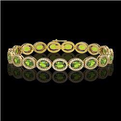 13.87 CTW Peridot & Diamond Halo Bracelet 10K Yellow Gold - REF-251X6T - 40480