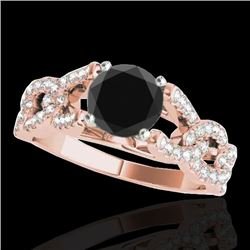 1.5 CTW Certified VS Black Diamond Solitaire Ring 10K Rose Gold - REF-78H4A - 35218