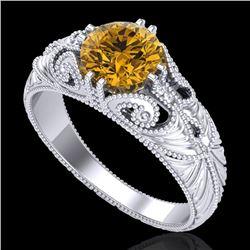 1 CTW Intense Fancy Yellow Diamond Engagement Art Deco Ring 18K White Gold - REF-204H5A - 37532