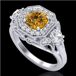 2.11 CTW Intense Fancy Yellow Diamond Art Deco 3 Stone Ring 18K White Gold - REF-283M6H - 38302