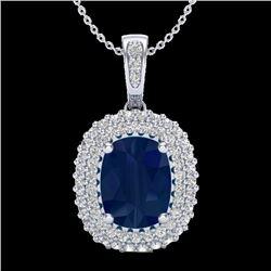 3.15 CTW Sapphire & Micro Pave VS/SI Diamond Halo Necklace 18K White Gold - REF-90T9M - 20419