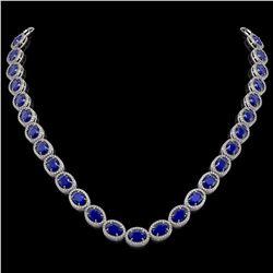 52.15 CTW Sapphire & Diamond Halo Necklace 10K White Gold - REF-655N3Y - 40559