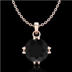 1 CTW Fancy Black Diamond Solitaire Art Deco Stud Necklace 18K Rose Gold - REF-67W3F - 37542