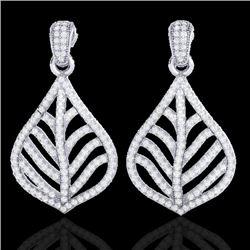 2.50 CTW Micro Pave VS/SI Diamond Earrings Designer 18K White Gold - REF-214H5A - 21151
