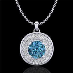 1.25 CTW Fancy Intense Blue Diamond Solitaire Art Deco Necklace 18K White Gold - REF-161F8N - 38139