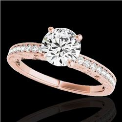 1.43 CTW H-SI/I Certified Diamond Solitaire Antique Ring 10K Rose Gold - REF-180T2M - 34613