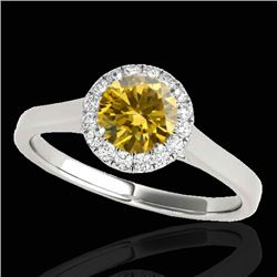 1.11 CTW Certified Si/I Fancy Intense Yellow Diamond Solitaire Halo Ring 10K White Gold - REF-167Y3K