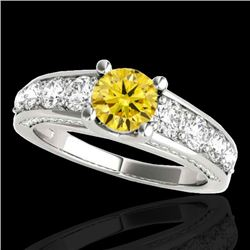 3.05 CTW Certified Si/I Fancy Intense Yellow Diamond Solitaire Ring 10K White Gold - REF-343N6Y - 35