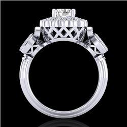 1.5 CTW VS/SI Diamond Solitaire Art Deco 3 Stone Ring 18K White Gold - REF-300M2H - 37058