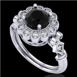 1.2 CTW Fancy Black Diamond Solitaire Engagement Art Deco Ring 18K White Gold - REF-123W6F - 37828