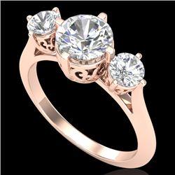 1.51 CTW VS/SI Diamond Solitaire Art Deco 3 Stone Ring 18K Rose Gold - REF-427H3A - 37236