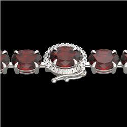 32 CTW Garnet & VS/SI Diamond Eternity Tennis Micro Halo Bracelet 14K White Gold - REF-119N5Y - 2342