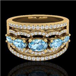 2.25 CTW Sky Blue Topaz & Micro Pave VS/SI Diamond Designer Ring 10K Yellow Gold - REF-72Y2K - 20796