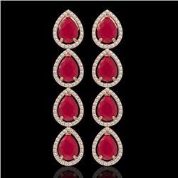 16.01 CTW Ruby & Diamond Halo Earrings 10K Rose Gold - REF-199H6A - 41286