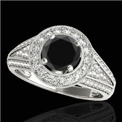 2.17 CTW Certified VS Black Diamond Solitaire Halo Ring 10K White Gold - REF-90F2N - 33979