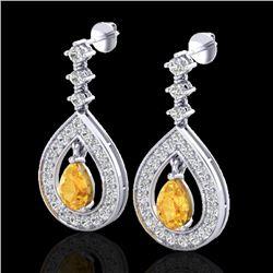 2.25 CTW Citrine & Micro Pave VS/SI Diamond Earrings Designer 14K White Gold - REF-99K8W - 23148