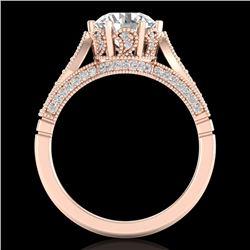 2.2 CTW VS/SI Diamond Art Deco Ring 18K Rose Gold - REF-725X5T - 37239