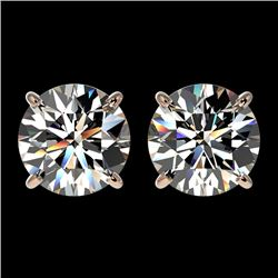 2.50 CTW Certified H-SI/I Quality Diamond Solitaire Stud Earrings 10K Rose Gold - REF-435W2F - 33101