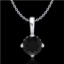 0.82 CTW Fancy Black Diamond Solitaire Art Deco Stud Necklace 18K White Gold - REF-63A6X - 37800