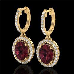 3.75 CTW Garnet & Micro Pave VS/SI Diamond Earrings Solitaire Halo 18K Yellow Gold - REF-100W2F - 20