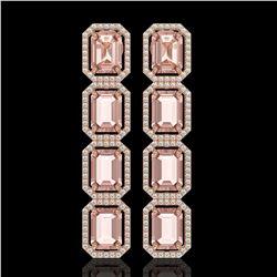 19.81 CTW Morganite & Diamond Halo Earrings 10K Rose Gold - REF-424F8N - 41583