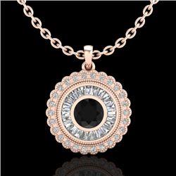 2.11 CTW Fancy Black Diamond Solitaire Art Deco Stud Necklace 18K Rose Gold - REF-180K2W - 37913