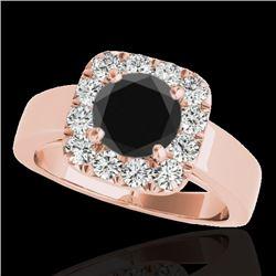 1.55 CTW Certified VS Black Diamond Solitaire Halo Ring 10K Rose Gold - REF-90T8M - 34242