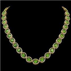 33.6 CTW Peridot & Diamond Halo Necklace 10K Yellow Gold - REF-675H3A - 41215