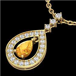 1.15 CTW Citrine & Micro Pave VS/SI Diamond Necklace Designer 14K Yellow Gold - REF-61T3M - 23165